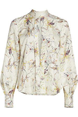 Jason Wu Women's Silk Jacquard Tieneck Blouse - - Size 12