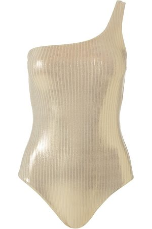 Melissa Odabash Women's Palermo Metallic Asymetrical One-Piece Swimsuit - - Size 6