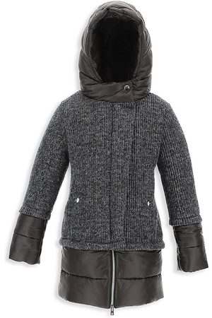 HERNO Girl's A-Line Hooded Lurex Knit Parka - - Size 14