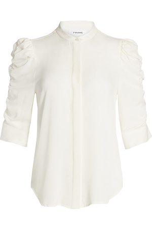 Frame Women's Shirred-Sleeve Silk Shirt - - Size XS