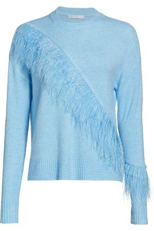 Design History Women's Feather Trim Crew Sweater - - Size Medium