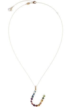 Dolce & Gabbana 18kt yellow initial U gemstone necklace