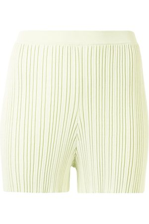 DION LEE Rib-knit fitted shorts