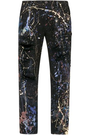 Dolce & Gabbana Men Straight - Colour splash-effect jeans
