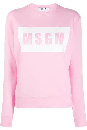Msgm Women Sweatshirts - Box logo-print sweatshirt