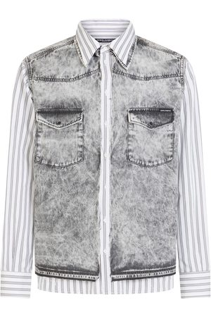 Dolce & Gabbana Panelled striped denim shirt - Grey