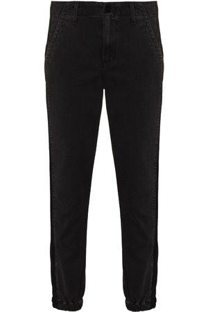 Paige Mayslie velvet-stripe tapered jeans