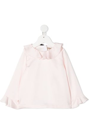 HUCKLEBONES LONDON Girls Blouses - Ruffle-detail long-sleeve blouse