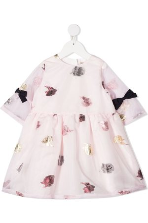 HUCKLEBONES LONDON Floral-embroidered bow-detail dress