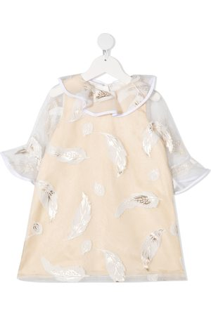 HUCKLEBONES LONDON Feather-print shift dress - Neutrals