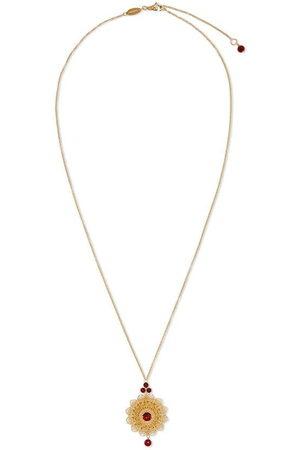 Dolce & Gabbana 18kt yellow filigree rhodolite pendant necklace