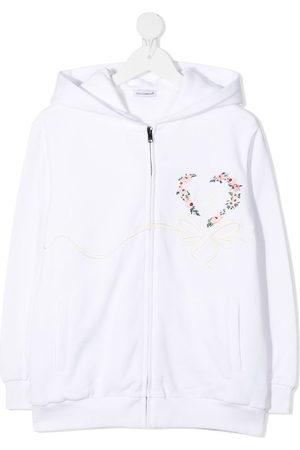 Dolce & Gabbana Floral heart print zipped hoodie