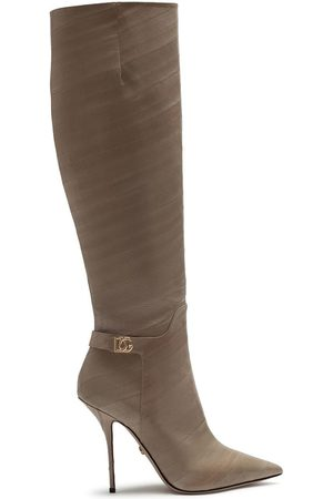 Dolce & Gabbana Women Thigh High Boots - Logo plaque knee boots - Neutrals