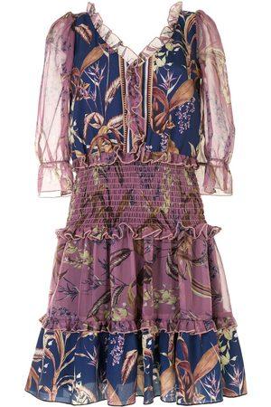 Marchesa Notte Women Printed Dresses - Floral print smocked waist dress