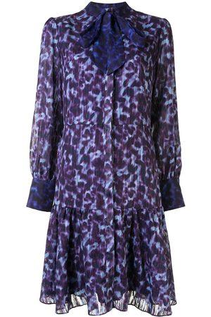 Marchesa Notte Leopard print buttoned dress