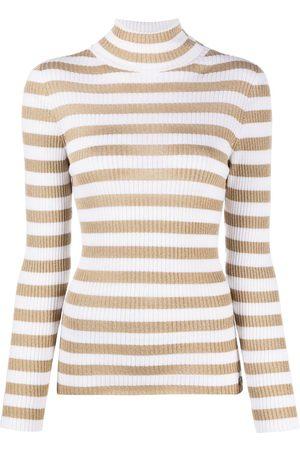 Twin-Set Turtleneck metallic-stripe jumper