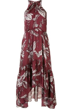 Marchesa Notte Leaf-print halter neck midi dress