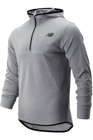 New Balance Men Hoodies - Men's Tenacity Hooded QTR Zip - Grey (MT93089AG)