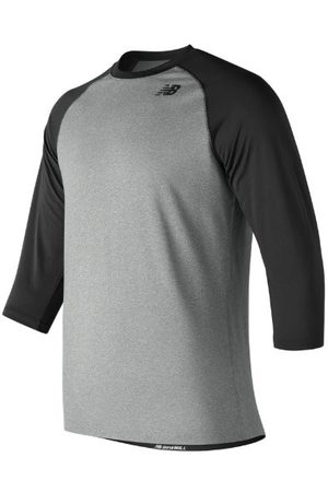 New Balance Men Men's 3/4 Baseball Raglan Top - Black (TMMT601TBK)