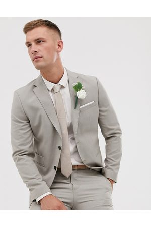 Selected Slim fit suit jacket in stone