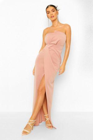 Boohoo Womens Bandeau Wrap Detail Split Maxi Dress - - 6