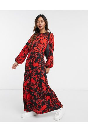 Closet Gathered midaxi dress with split in contrast floral-Multi