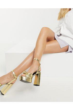 ASOS Neptune platform high-heeled sandals in mirror