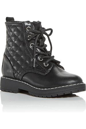 Steve Madden Girls Boots - Girls' JBettyy Quilted Combat Boots - Toddler, Little Kid, Big Kid