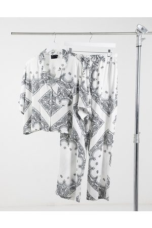 ASOS Short sleeves - Scarf print short sleeve shirt & pants pajama set in