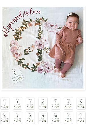 Bestever All You Need Is Love Photo Blanket & Monthly Card Set - Baby