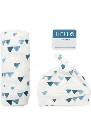 Bestever Boys' 3 Pc. Hello World Triangle Print Hat, Blanket & Name Tag Set - Baby