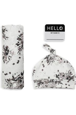 Bestever Unisex 3 Pc. Hello World Floral Print Hat, Blanket & Name Tag Set - Baby