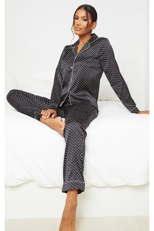 PRETTYLITTLETHING Polka Dot Long Satin PJ Set