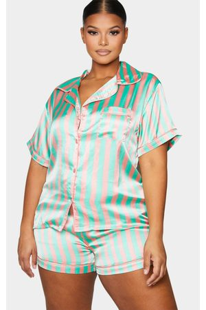 PRETTYLITTLETHING Plus Sage Striped Button Up Short PJ Set