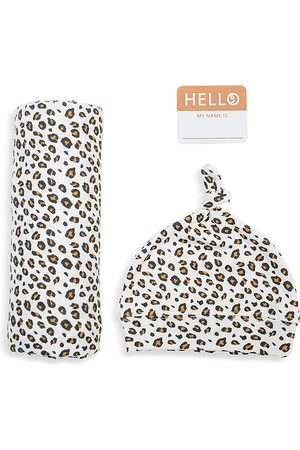Bestever Girls' 3 Pc. Hello World Leopard Print Hat, Blanket & Name Tag Set - Baby