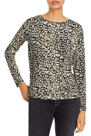 Majestic Soft Touch Animal Print Long Sleeve Relaxed Tee