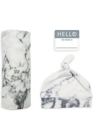 Bestever Unisex 3 Pc. Hello World Marble Print Hat, Blanket & Name Tag Set - Baby