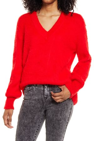BP. Women's Deep V-Neck Fuzzy Tunic Sweater