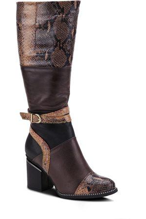 L'ARTISTE Women's Exguisitie Snake Embossed Knee High Boot