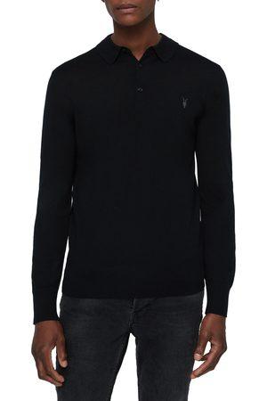 AllSaints Men's Mode Long Sleeve Wool Polo