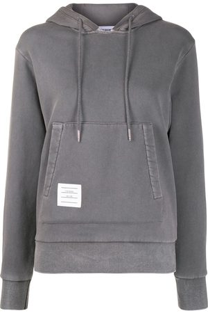 Thom Browne Women Hoodies - Relaxed logo-patch pullover hoodie - Grey