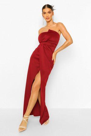 Boohoo Womens Bandeau Wrap Detail Split Maxi Dress - - 4