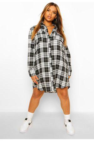 Boohoo Womens Plus Boyfriend Flannel Shirt Dress - - 12