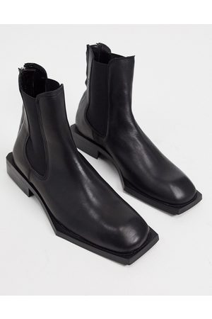 ASOS Chelsea boots in leather with angular sole