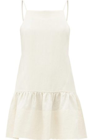 Three Graces London Women Party Dresses - Skye Square-neck Linen Mini Dress - Womens - Ivory
