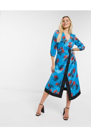 Liquorish Midi wrap dress in floral print