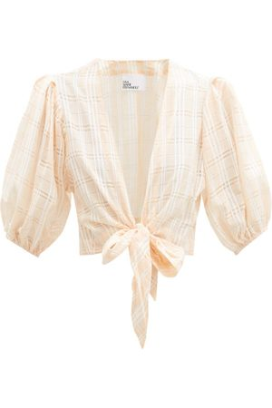 Lisa Marie Fernandez Tie-front Puff-sleeve Check Cotton-blend Blouse - Womens - Stripe