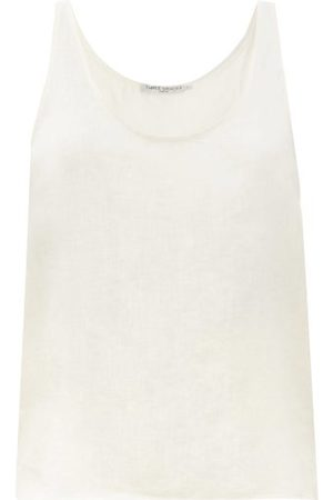 Three Graces London Women Tank Tops - Tina Linen Tank Top - Womens - Ivory