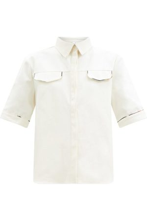 SIR Maurice Piped Cotton-canvas Shirt - Womens - Ivory