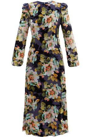 RODARTE Floral-print Silk-blend Devoré-velvet Gown - Womens - Navy Print